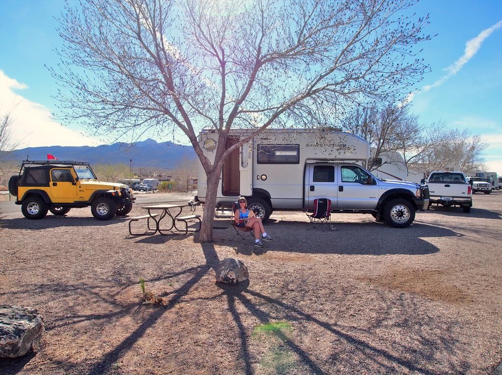 001-Nancy outside Roamer, Blake Ranch Rd RV Park, Kingman.JPG