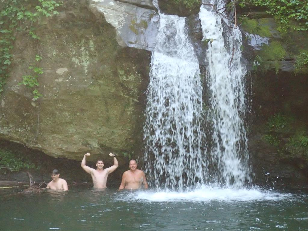 043-Carl, Michael & Stuart, Wright Creek waterfall, Lake Jocassee, Devil's Fork SP.JPG